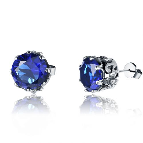 Silver Lure Stud Earrings (Sapphire)