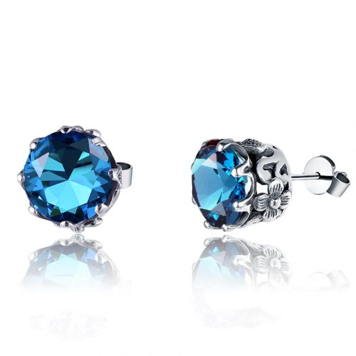 Silver Lure Stud Earrings (Blue Topaz)