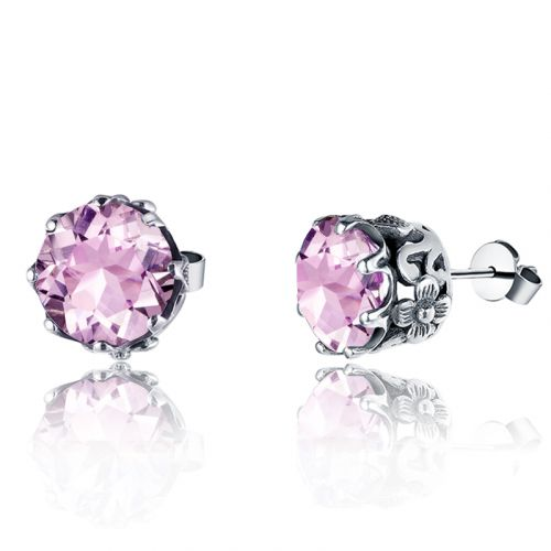 Silver Lure Stud Earrings (Pink Tourmaline)