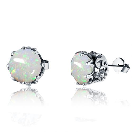 Silver Lure Stud Earrings (Opal)