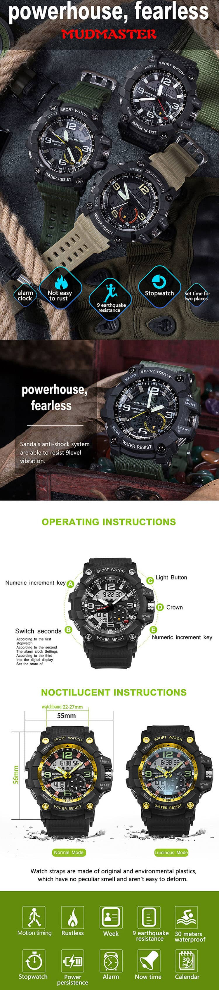 G20™ Shock Resistant Military Sport Watch
