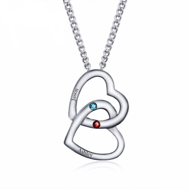 heart birthstone drop stone hover zoom dual to necklace pendant custom