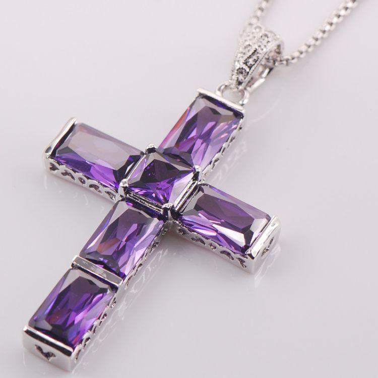 New Purple Amethyst Cross Necklace