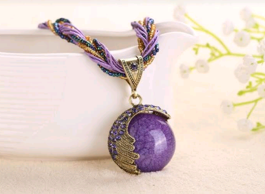 std statement necklace necklaces gold crystal handmade product chain purple woven