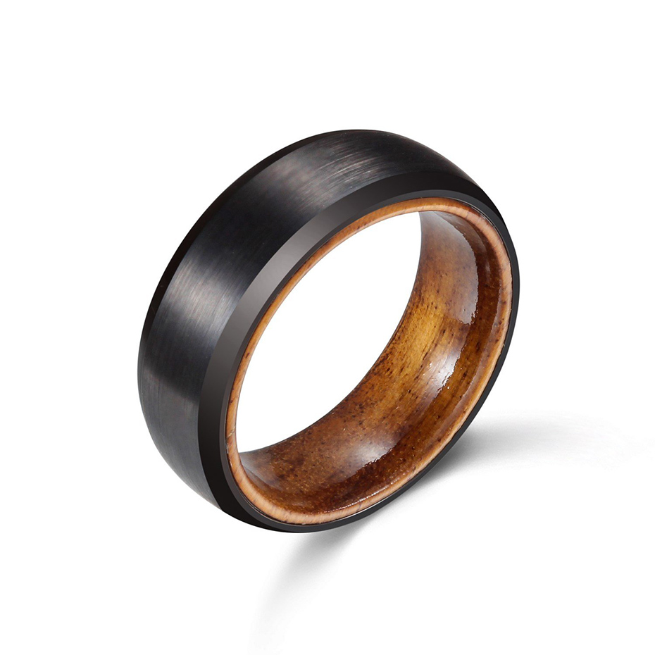 This is a photo of 42MM Matte Black Tungsten Ring with Olive Wood Sleeve