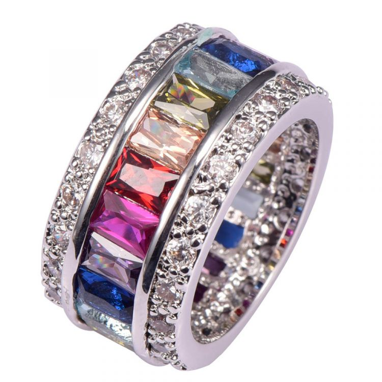 925 Sterling Silver Multi Color Crystal Zirconia Ring