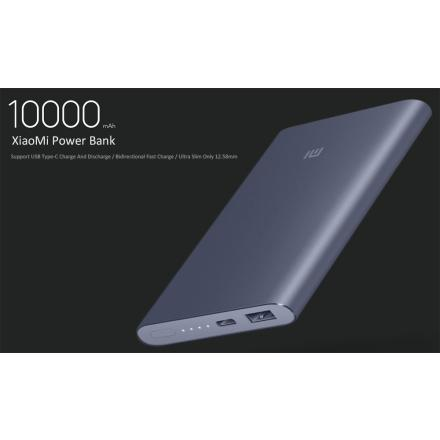 Batería Externa Xiaomi Mi Pro 10000mAh Type-C USB Mobile Power Bank Two-way Quick Charge-Gris