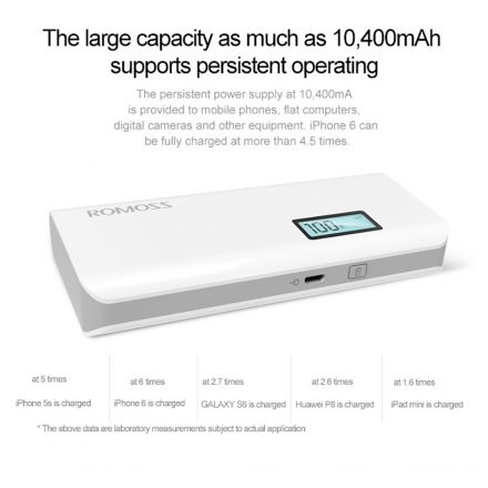 Batería Externa Power Bank ROMOSS Sense 4 Plus 10400mAh LCD 2 USB-Blanco