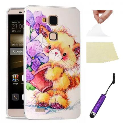 Funda Protector Rígida PC Protector Carcasa Huawei Ascend Mate 7 - Flower and C