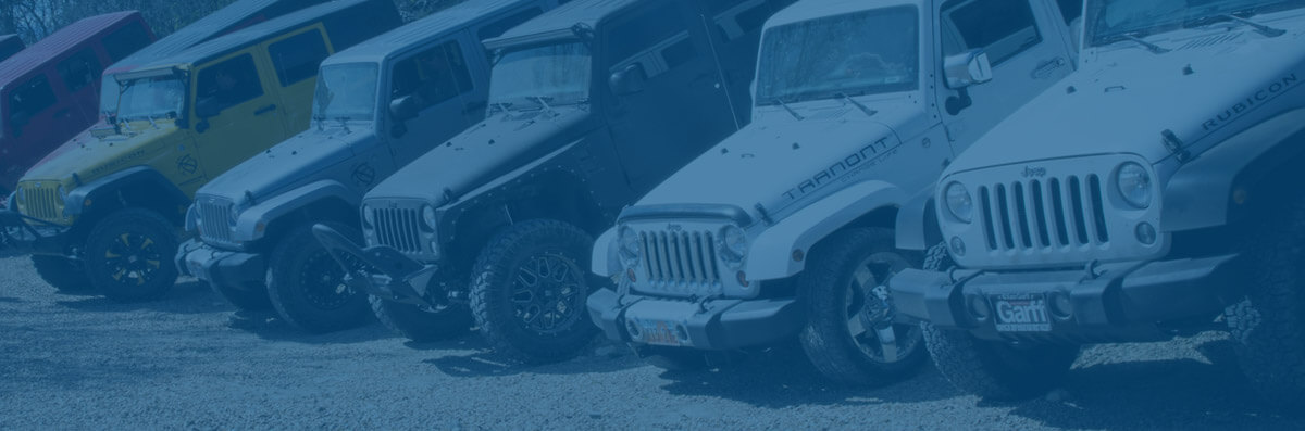 Jeeps, Some with Tranont Vinyl Logos on Them, Lined Up Next to Each Other