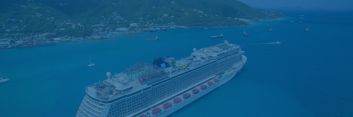 Semi-Arial View of a Cruise Ship on the Water by a Port Next to some Mountains