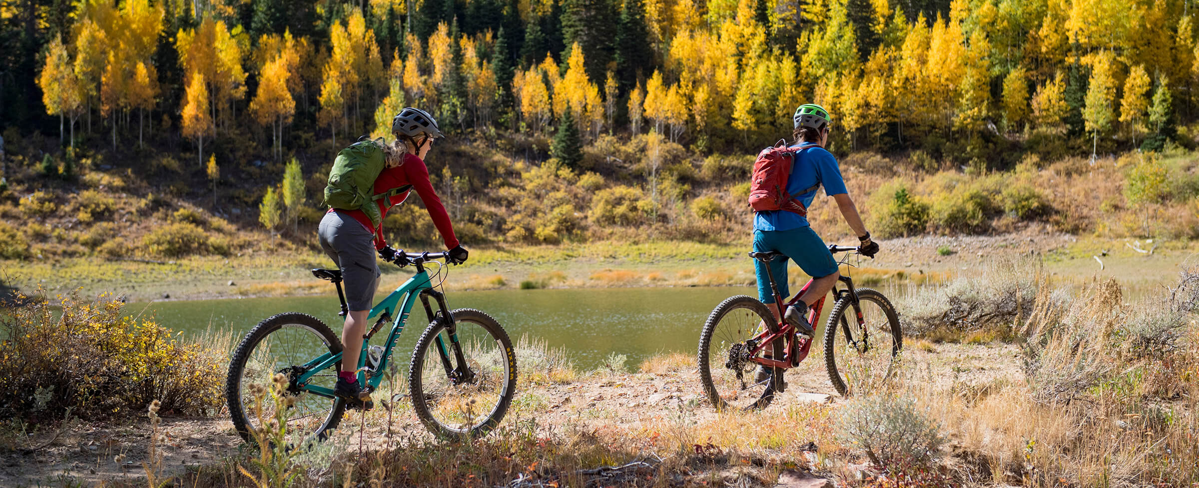 Two People Biking in the Mountains