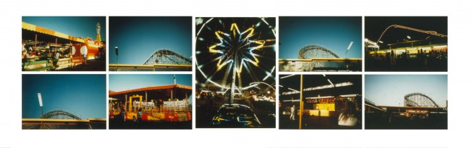 Roy Kiyooka, </span><span><em>P.N.E. (Pacific National Exhibition), 1978</em>, </span><span>9 Cibachrome prints