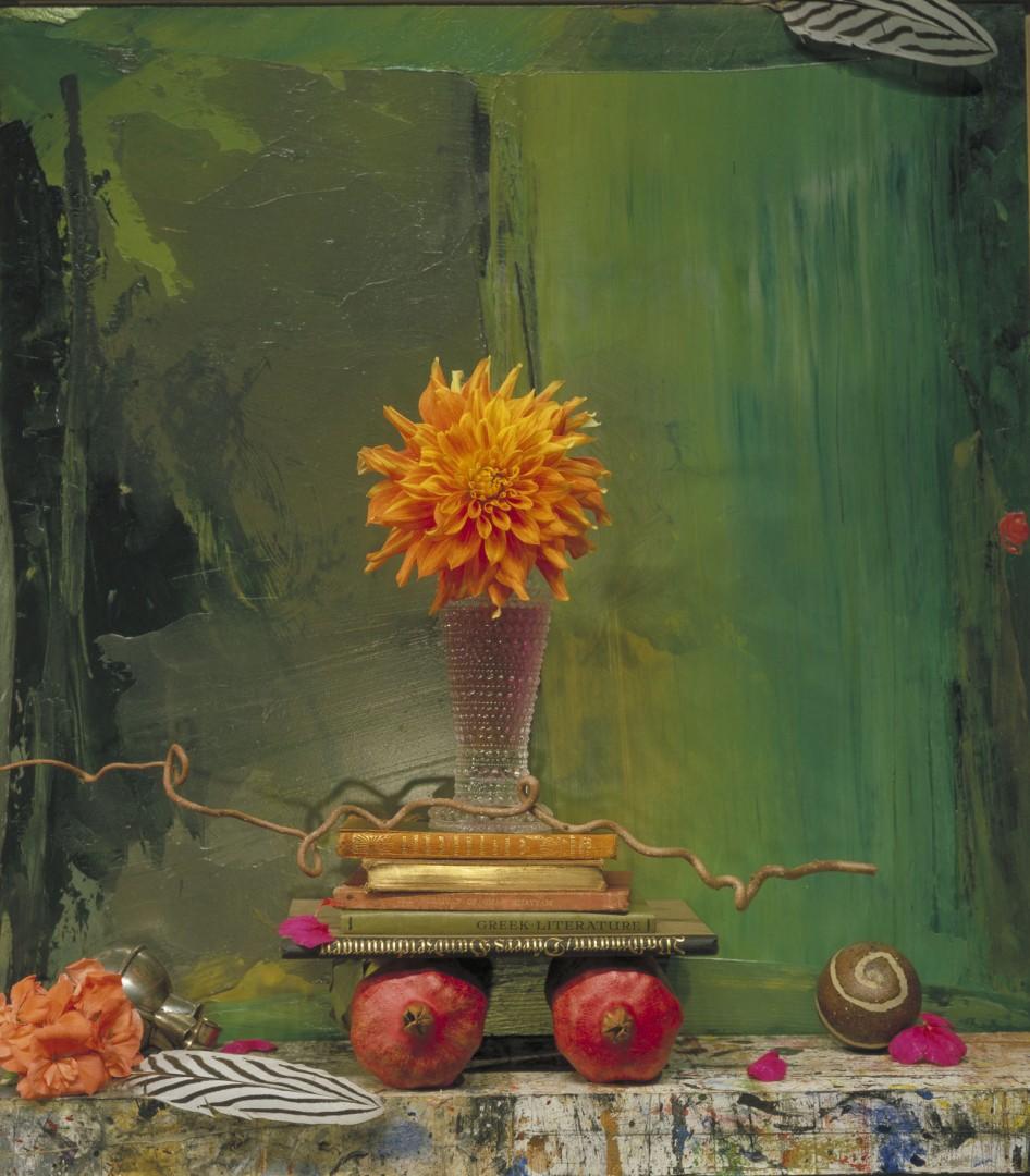 Ronald Boaks, </span><span><em>Still Life,Pomegranates on Green, 2005</em>, </span><span>Fujiflex on Dibond, 48