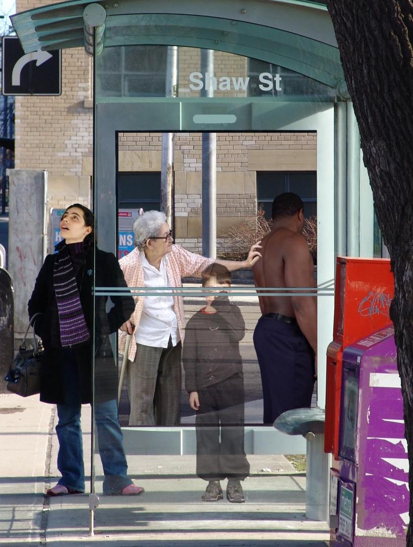 John Oswald, sketch for people shelter west face, 2006