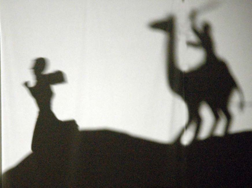 Deb Barndt, </span><span><em>The shadow of Hawa's Suitor</em>, </span><span>digital photo of shadow puppetry