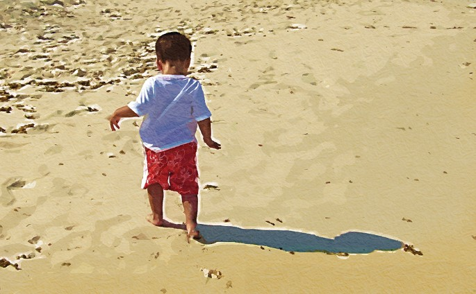Nitin Amersey, </span><span><em>Baby's First Steps on the Beach, 2007</em>, </span><span>Giclee on Canvas, 30 x 19