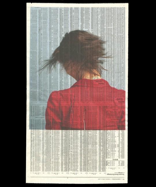 Sabrina Russo, </span><span><em>Sabrina, 2007</em>, </span><span>Inkjet print on newspaper, 22 x 12.5 inches
