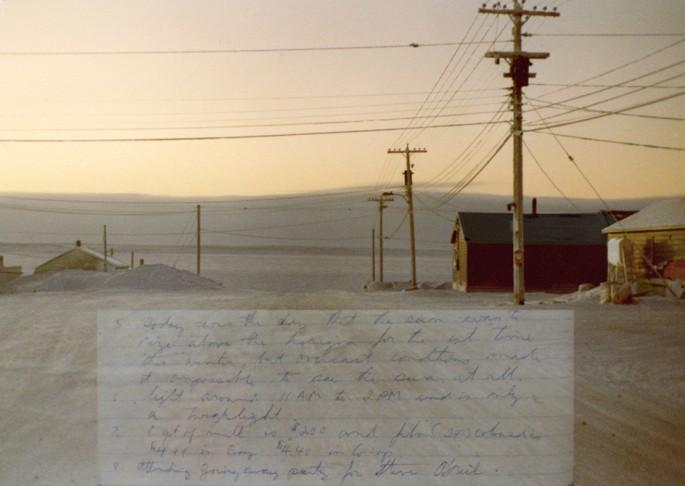 Sandra Hawkins, </span><span><em>Arctic Crisis Project Part 2 - Cambridge Bay Street, Nunavut and Journal note that day, January 1981</em>, </span><span>2008-09