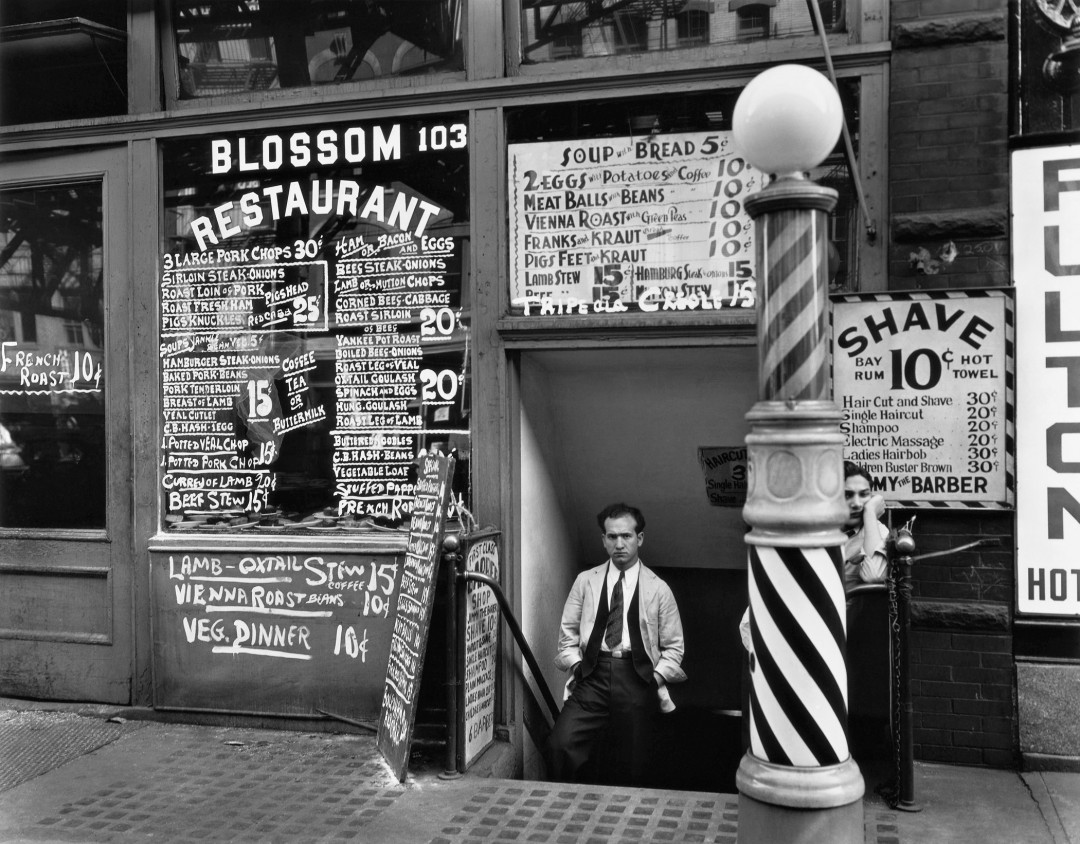 Berenice Abbott, </span><span><em>Blossom Restaurant, 103 Bowery, New York City</em>, </span><span>October 24, 1935 © Berenice Abbott/Commerce Graphics