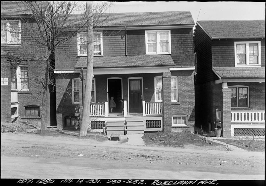 Arthur S. Goss, </span><span><em>260-262 Roselawn Ave.</em>, </span><span>April 14, 1931.  City of Toronto Archives, series 372, subseries 58, item 1280.