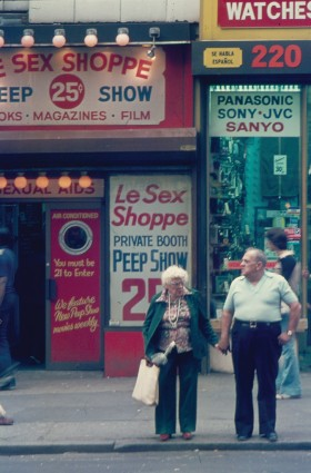 Max Allen, </span><span><em>Streetscape of 42nd St in New York City</em>, </span><span>1979 Marc S. Bonham Centre for Sexual Diversity Studies Sexual Representation Collection
