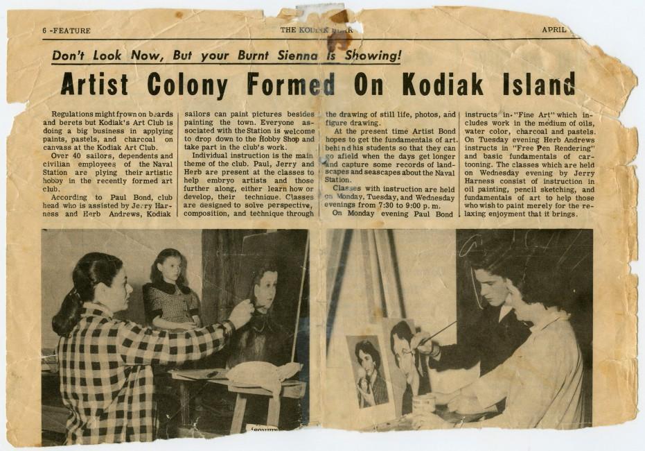 Newspaper article from Kodiak Bear, April 3, 1953., </span><span>