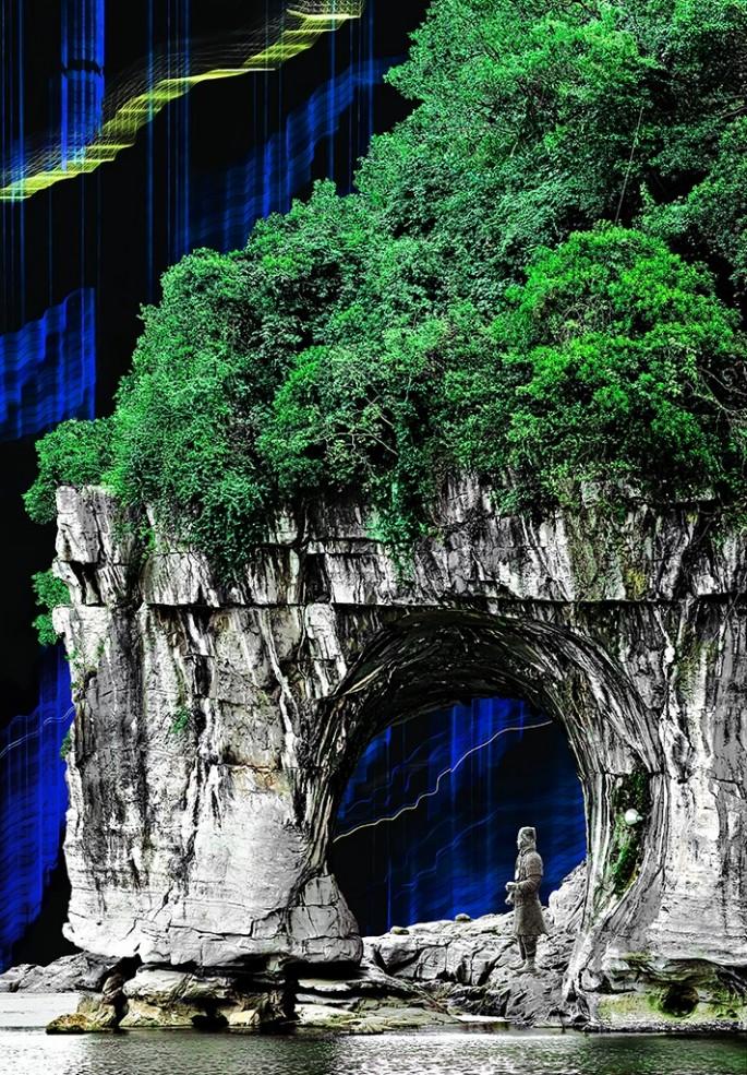 Brenda Hoffert, </span><span><em>Arched Rock - Blue</em>, </span><span>2014