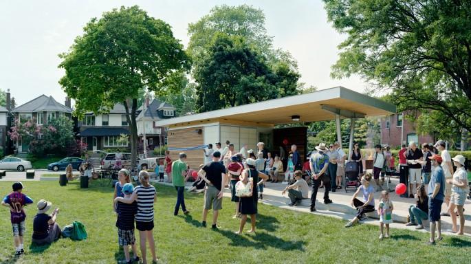 Scott McFarland, </span><span><em>Pavilion Ribbon Cutting Ceremony, Jean Sibelius Square Park, June 10, 2012, Toronto</em>, </span><span>2013 Courtesy of the artist