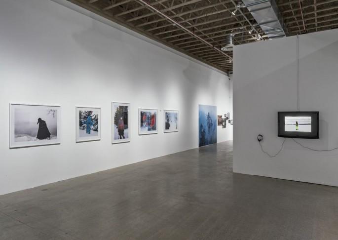 Installation view, </span><span><em>Material Self</em>, </span><span>Meryl McMaster, David Favrod, Dominique Rey Photo: Toni Hafkenscheid