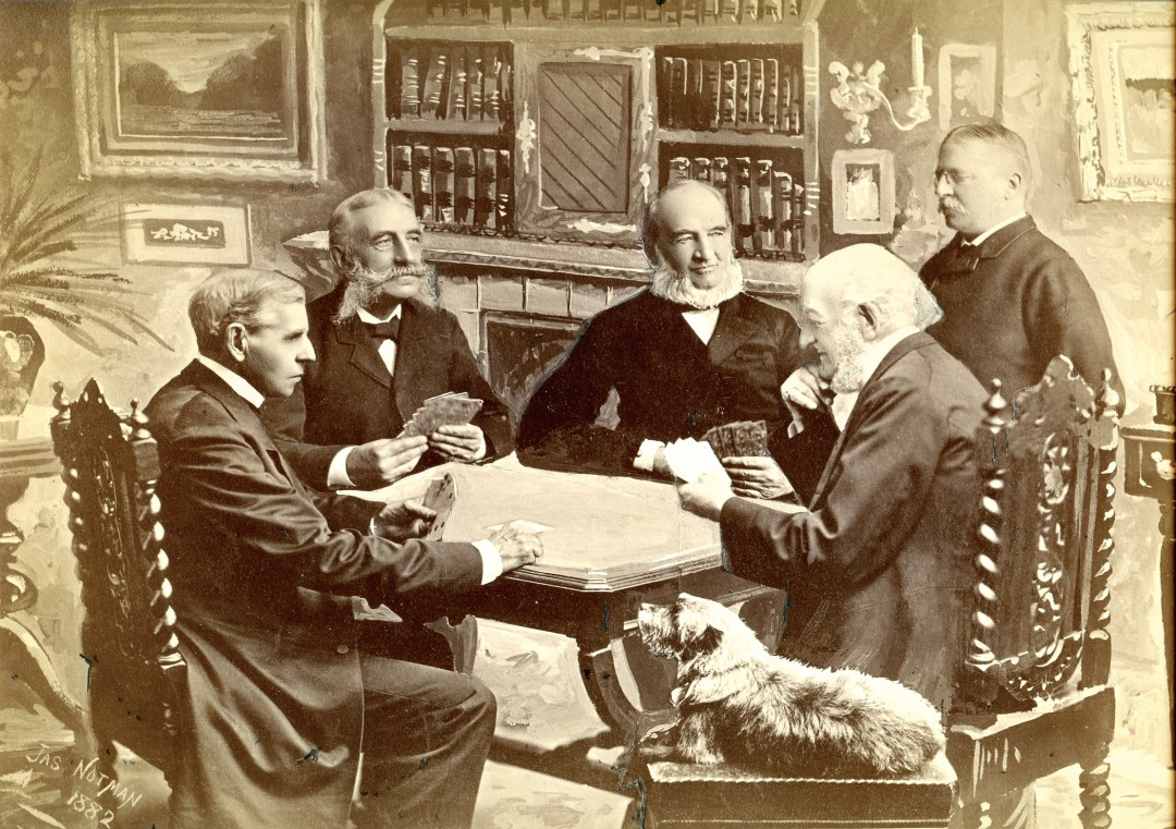 James Notman, Group of Five Men and a Dog Playing Cards, 1882 From the collection of Robert Wilson, Photographic Historical Society of Canada.