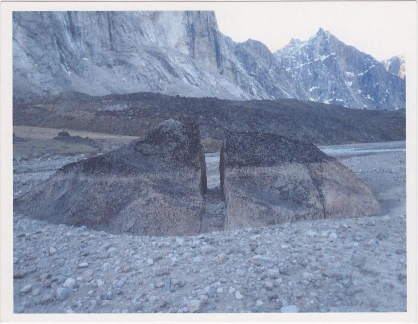Martha Baillie, </span><span><em>Schlögel Archive</em>, </span><span>(installation detail – postcard image photograph by Martha Baillie taken July 2010, Auyuittuq, Baffin Island)