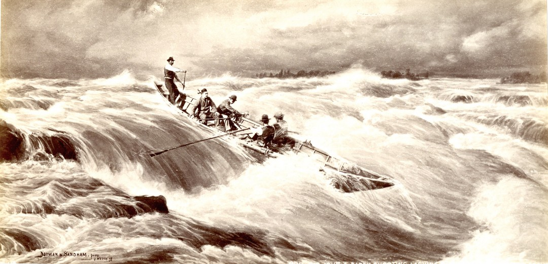 J. Weston for William Notman and Henry Sandham, Big John and Party Shooting Lachine Rapids, Near Montreal, QC, 1878 From the collection of Robert Wilson, Photographic Historical Society of Canada.