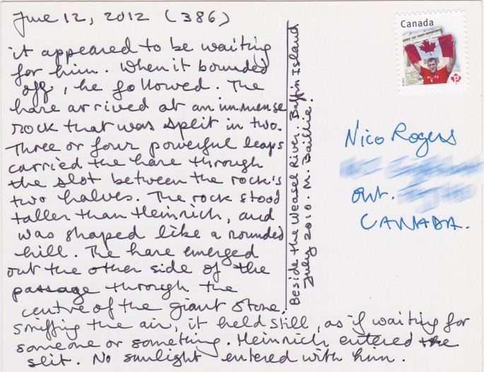 Martha Baillie, </span><span><em>Schlogel Archive</em>, </span><span>(installation detail - postcard image photograph by Martha Baillie taken July 2010, Auyuittuq, Baffin Island)