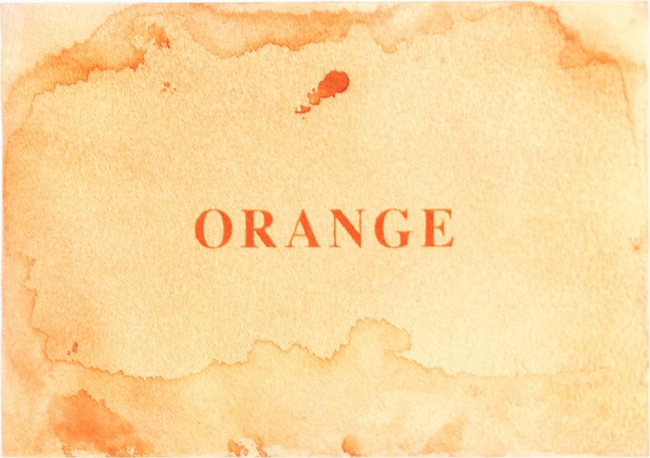 Claire Harvie, </span><span><em>International Orange (recto)</em>, </span><span>2014
