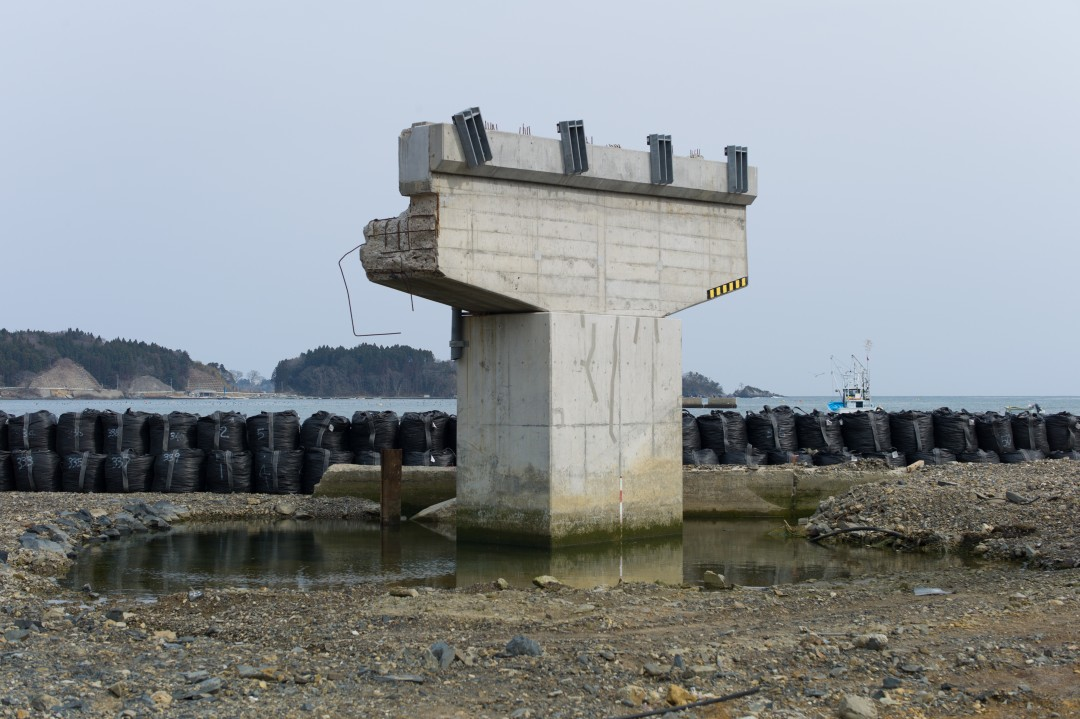 "Michel Huneault, Utatsu Remains of a Bridge Damaged by Tsunami, 2012. Archival pigment print, 20 x 30""."
