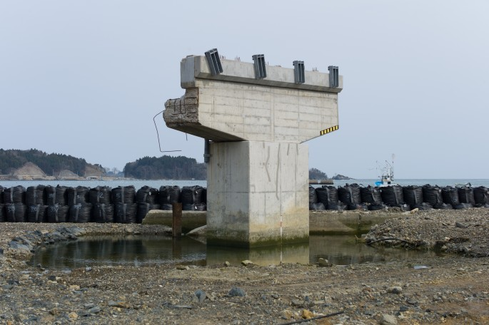 "Michel Huneault, </span><span><em>Utatsu Remains of a Bridge Damaged by Tsunami</em>, </span><span>2012. Archival pigment print, 20 x 30""."