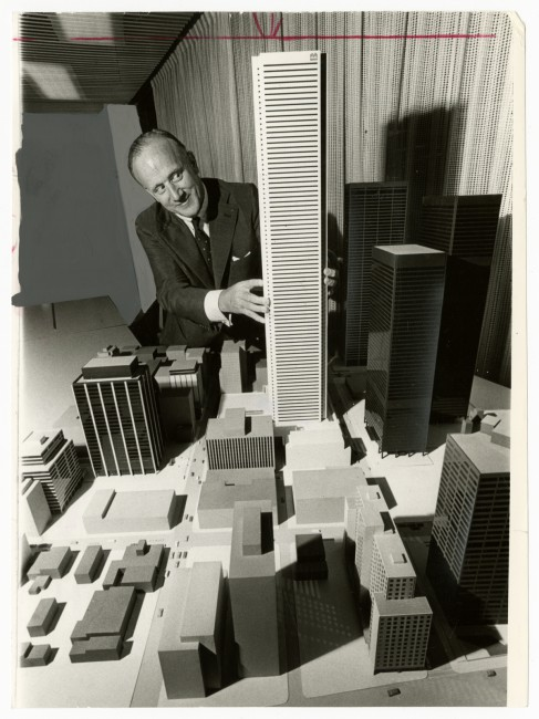 Tibor Kelley, </span><span><em>J. Leonard Walker places tower on podium of Bank of Montreal building unveiled at City Hall 1972</em>, </span><span>1972. Gelatin silver print, 9 x 7&quot;. Gift of The Globe and Mail newspaper to the Canadian Photography Institute of the National Gallery of Canada.
