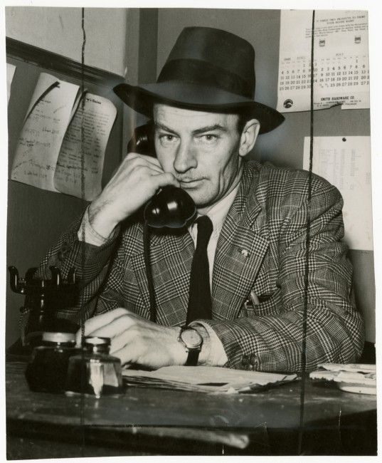 Unidentified photographer, </span><span><em>Milton 'Buzz' Nuttall, Canadian Seamen's Union business agent, in Moose Hall, Cornwall, Ontario</em>, </span><span>1948. Gelatin silver print, 1948. Gift of The Globe and Mail newspaper to the Canadian Photography Institute of the National Gallery of Canada.