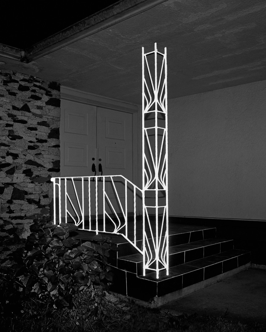 "James Nizam, Railing, Illumincations Series, 2014, Archival Pigment Print, 40""x32"", Courtesy of the artist and Birch Contemporary"