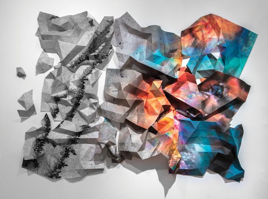 "Jessica Thalmann, </span><span><em>Utopos (Ross Building)</em>, </span><span>2015. Folded Archival pigment print, 70 x 40""."