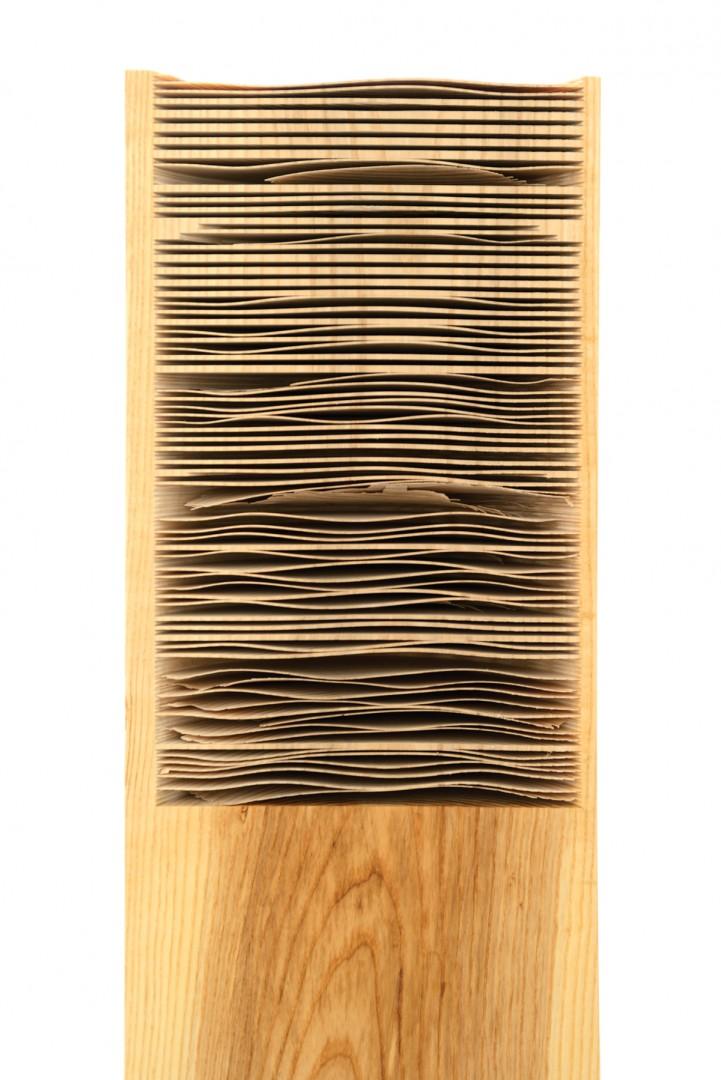 "Susana Reisman, Table Saw Study on Ash (Detail), 2015. 3.5 x 12 x 50""."