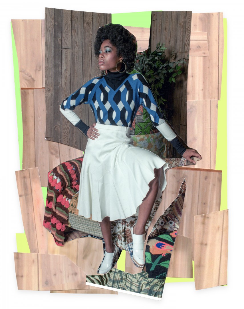 Mickalene Thomas, </span><span><em>Liz with White Skirt and White Shoes</em>, </span><span>2015. Colour photograph and paper collage on archival board, original artwork dimensions 11.25 x 8.5&quot;. © Mickalene Thomas / SODRAC (2016). Courtesy of the artist and Artists Rights Society (ARS), New York