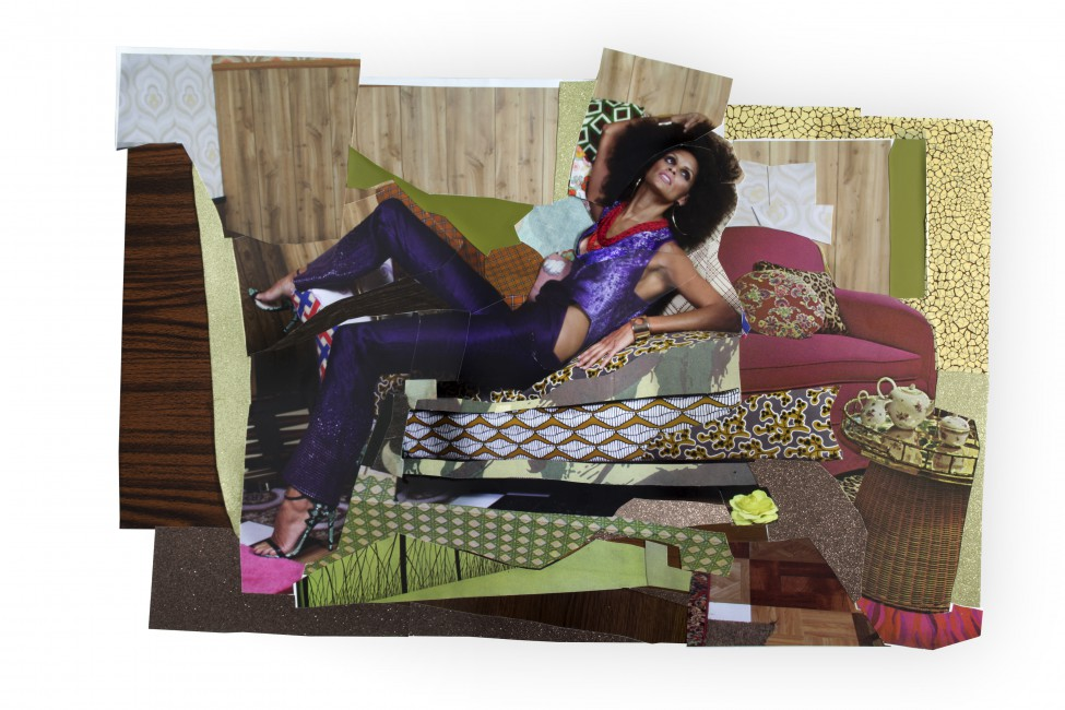 Mickalene Thomas, </span><span><em>Racquel Reclining Wearing Purple Jumpsuit #1</em>, </span><span>2014. Colour photograph and paper collage on archival board, original artwork dimensions 28 x 41.5&quot;. © Mickalene Thomas / SODRAC (2016). Courtesy of the artist, Lehmann Maupin, New York and Hong Kong, and Artists Rights Society (ARS), New York