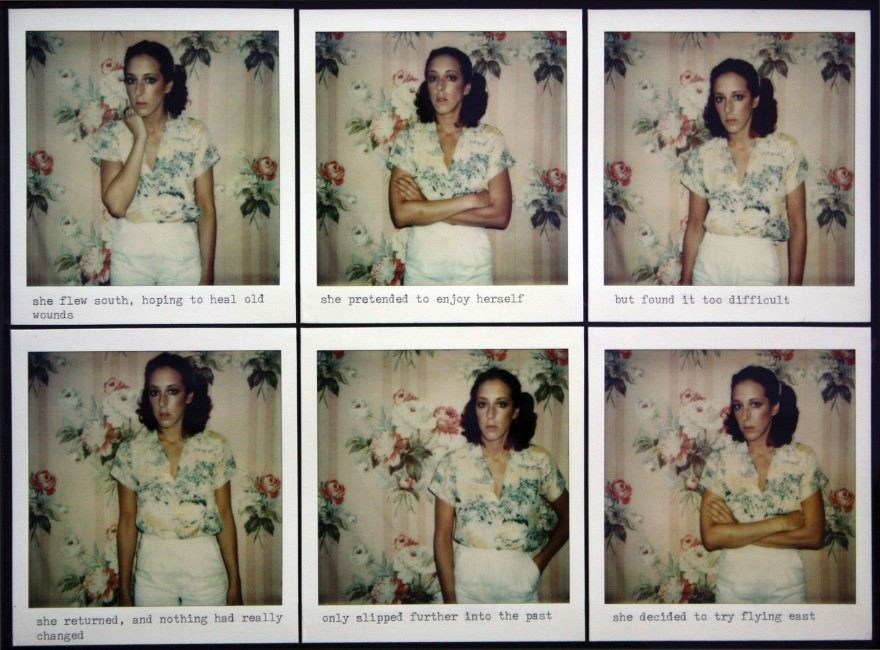 Barbara Astman, </span><span><em>Visual Narrative, untitled</em>, </span><span>1978-79, six Polaroids with type, mounted on paper, 11 x 13.5