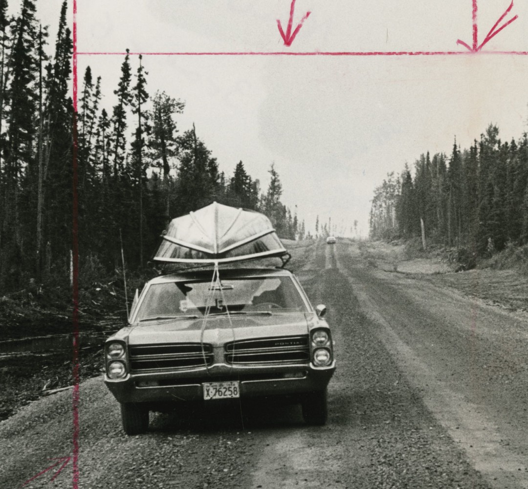 Unidentified Photographer, </span><span><em>Along the new Highway, which runs from Smooth Rock Falls to Fraserdale, Ontario, there's no sign of human habitation apart from one empty lumber camp</em>, </span><span>(detail), c.1966. Gelatin Silver Print, 23.4 x 17.5cm. Gift of The Globe and Mail Newspaper to the Canadian Photography Institute of the National Gallery of Canada.