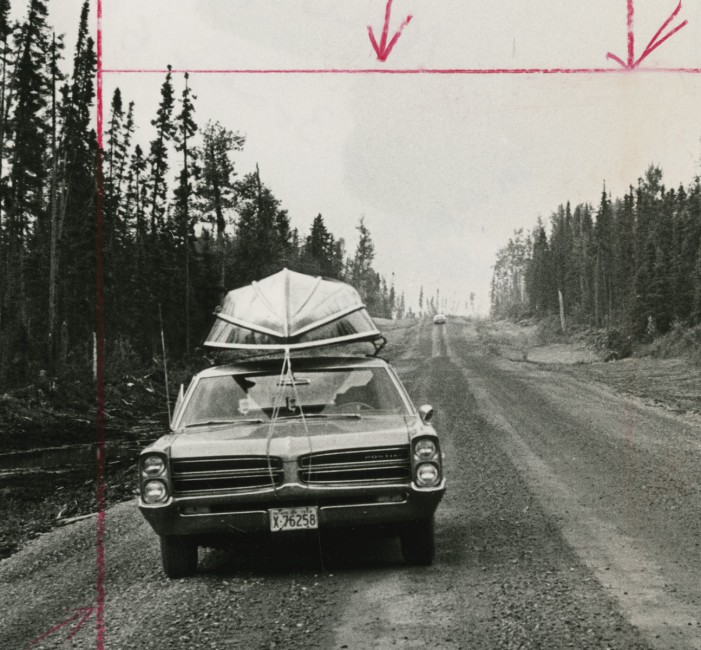 Unidentified Photographer, </span><span><em>Along the new Highway, which runs from Smooth Rock Falls to Fraserdale, Ontario, there's no sign of human habitation apart from one empty lumber camp</em>, </span><span>(detail), c.1966. Gelatin Silver Print, 23.4 x 17.5cm. Gift of The Globe and Mail Newspaper to the Canadian