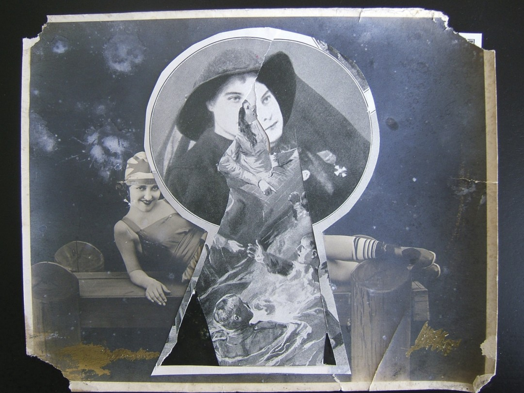 """Guy Maddin, Keyhole, 2007. Collage, 8 x 11"""". Courtesy of the artist and Lisa Kehler Art + Projects."""