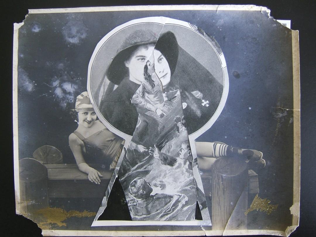 "Guy Maddin, </span><span><em>Keyhole</em>, </span><span>2007. Collage, 8 x 11"". Courtesy of the artist and Lisa Kehler Art + Projects."