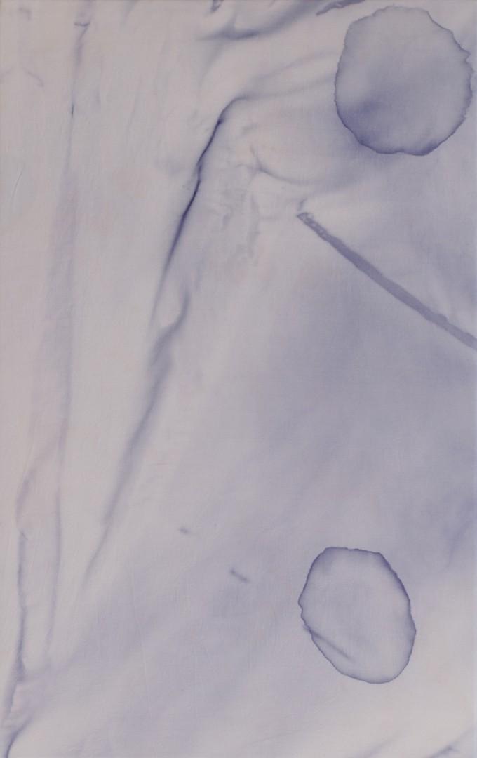 "Corin Sworn, </span><span><em>He Makes Rest a Laboratory</em>, </span><span>2014. Silk, Logwood, Alkaline, 14.8 x 22.8"". Courtesy of the artist, Koppe Astner, Glasgow, and Natalia Hug Gallery, Cologne."